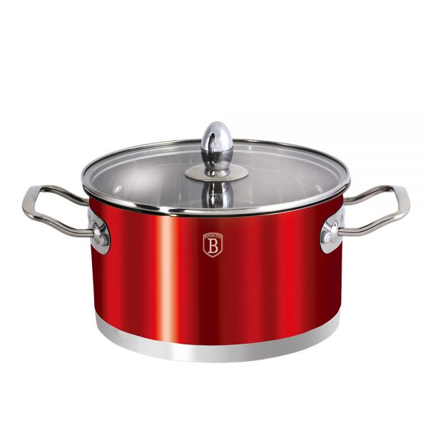 Oala de inox 24 cm, Metallic Red, Passion Collection
