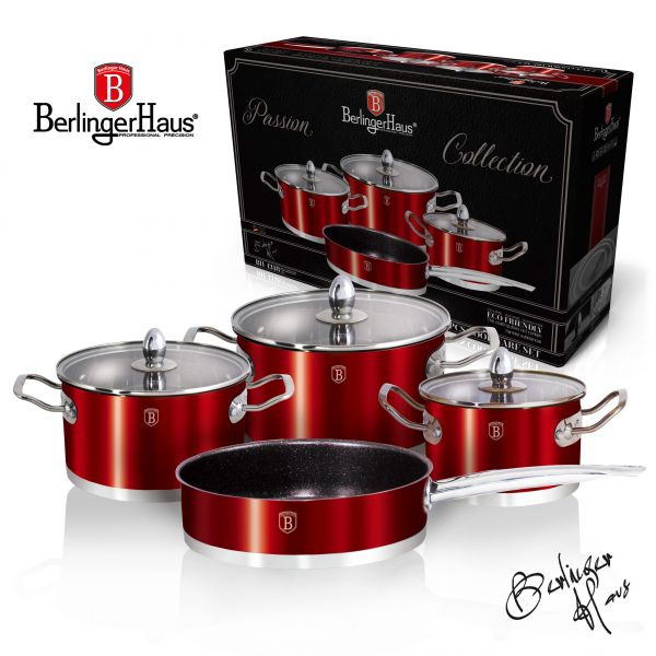 Set de gatit inox, 7 piese, Metallic Red, Passion Collection